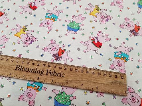 Cute Piggies fabric, Pig fabric, Nursery fabric 100% cotton print
