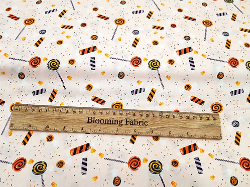 Candy fabric, Halloween fabric 100% Premium Cotton Quilting Candy Corn cotton