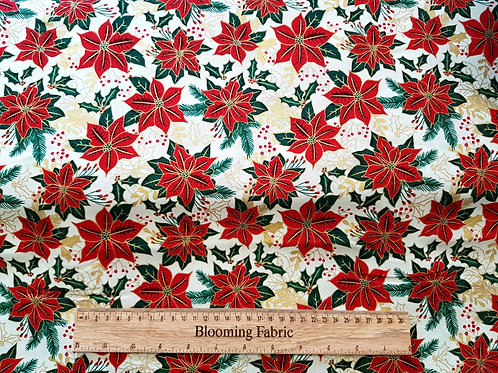 Poinsettias fabric, Christmas fabric, Traditional Holly print green/red Metallic