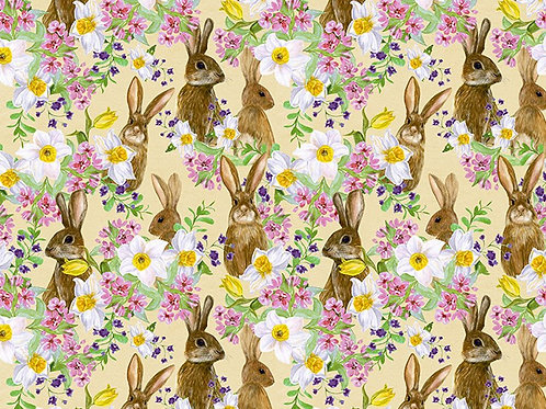 Bunny fabric, Easter fabric, flower fabric, 100% cotton print