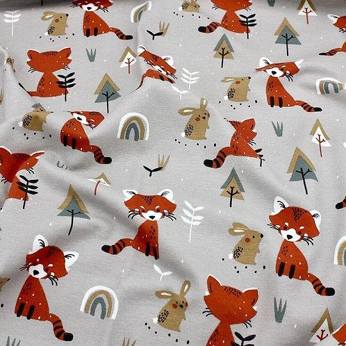 Cotton Jersey, red panda on light grey, Cotton knit fabric
