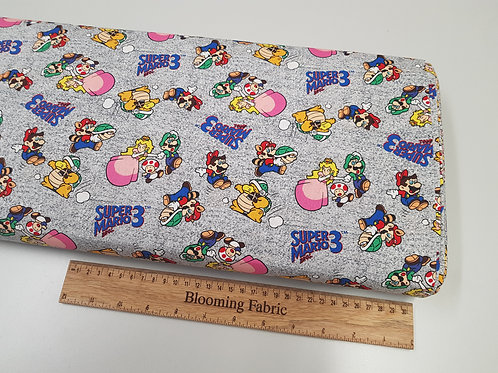 Super Mario Brothers fabric, Mario and Friends cotton fabric, Video Game fabric