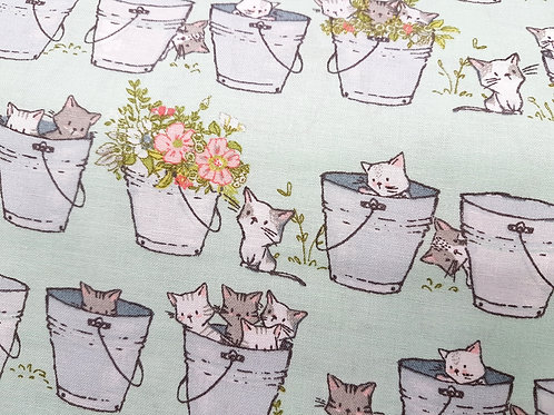 Cat fabric, floral fabric, animal fabric, Small print, Hide and seek 100% cotton
