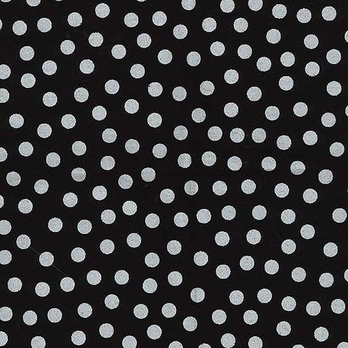 Silver dots on black Glitter spots Sparkle fabric Metallic fabric