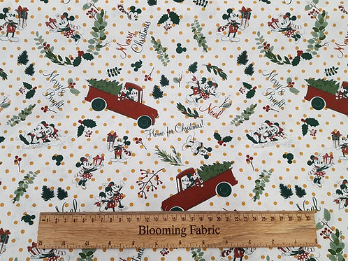 Cotton fabric, Mickey mouse, Minnie Mouse fabric, Christmas fabric 100% cotton