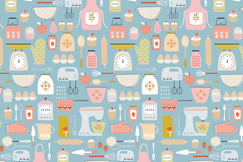Love to bake cotton fabric, Food fabric print Kitchen fabric 100% cotton