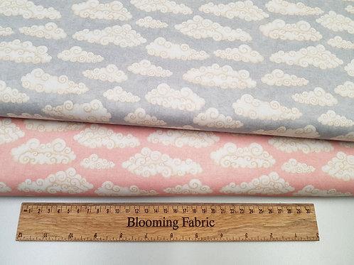 Cloud fabric, baby blue fabric, pink cloud fabric, 100% cotton