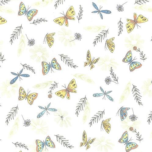 Butterflies, pastel colours, Cotton Jersey, Cotton knit fabric
