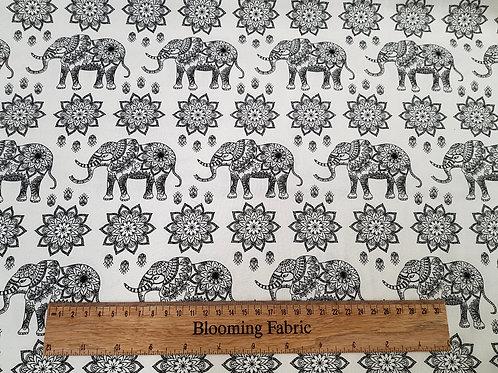 Elephant fabric, Mandala rose fabric, 100% cotton print
