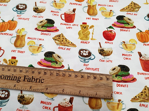 Food fabric with dessert and sweet drinks 100% woven cotton