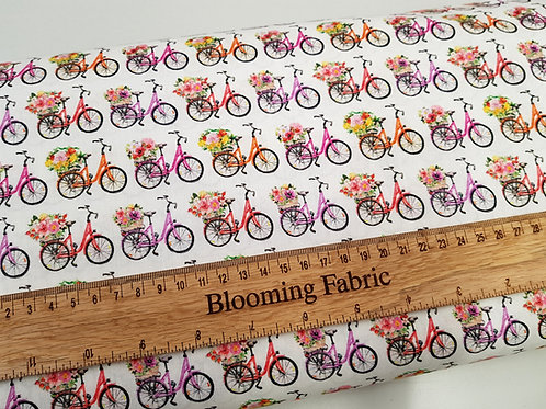 Bike fabric, Bicycles print, flower fabric 100% cotton print, craft and clothing