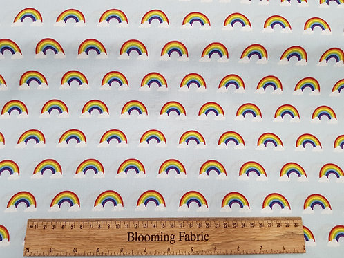 Rainbow fabric, Light blue 100%  cotton fabric