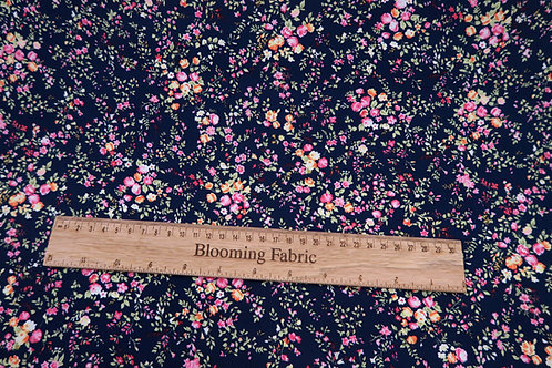 Cotton fabric, navy floral fabric, Flowers print cotton, 100% cotton poplin