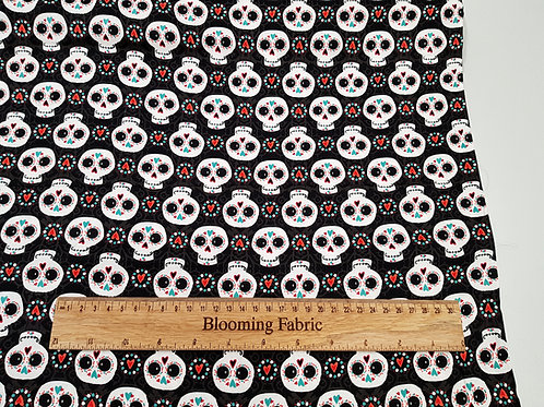 Sugar Skulls on Black 100% Cotton Woven Fabric