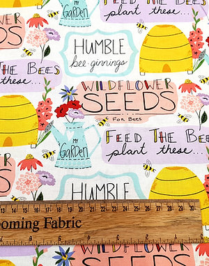Wildflower patch,  Feed the Bees Sayings White (bee collection)