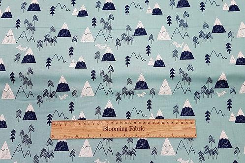 Nature, mountains animal print 100% cotton