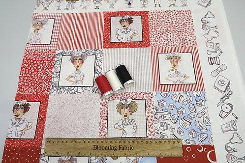 "Loralie Design Nifty Nurse Medley 100% cotton woven panel Blocks 23,5"" x 43"""