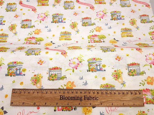 Cotton fabric, Flower shop fabric, Blooming fabric