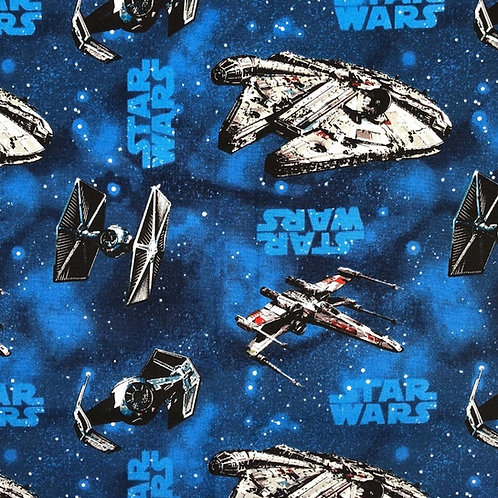 Star Wars Millennium Falcon Blue ships fabric 100% cotton