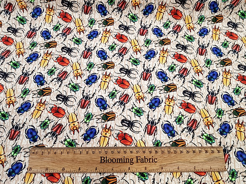 Bugs on bark fabric, insect fabric, 100% cotton, craft and clothing