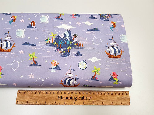 Riley Blake Fabric Neverland Island Periwinkle 100% cotton woven