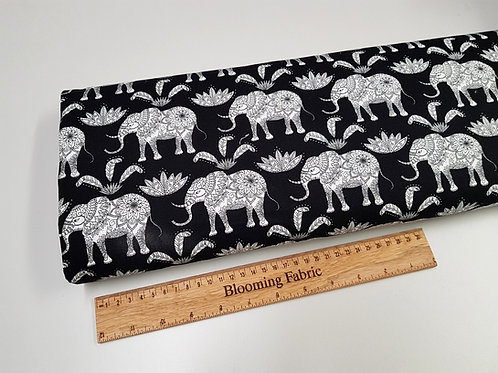Elephant fabric, Black/ White Mandala rose fabric, 100% cotton print