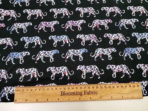 Cotton Jersey, leopard print fabric, Watercolour Leopard sweatshirt fabric
