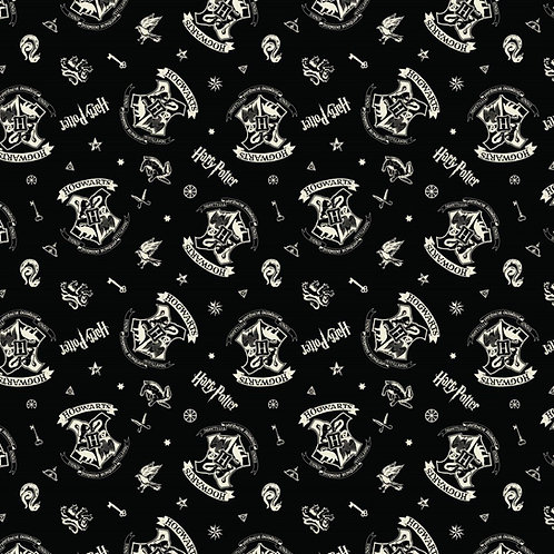 Hogvards Fabric on black, Harry Potter, 100% Cotton Fabric