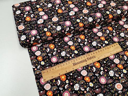 Floral fabric, Rainbow fabric, bohemian fabric, 100% cotton
