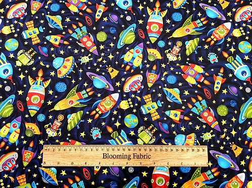 Space fabric, galaxy cotton fabric, cosmos fabric, planet fabric
