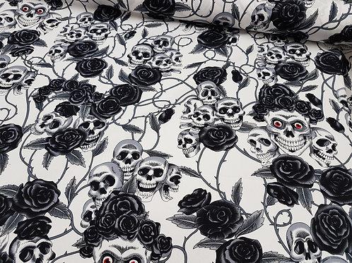 Skull Skeletons and Roses cotton poplin fabric black/ grey Goth fabric