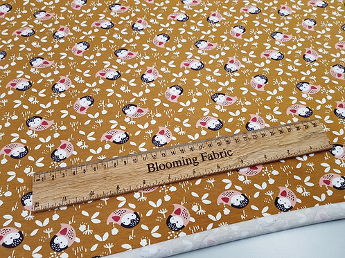 Cotton Jersey, Owl on Ochre, Cotton knit fabric