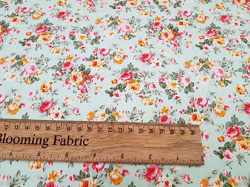 Floral fabric, roses on mint, Ditsy flowers fabric 100% cotton poplin
