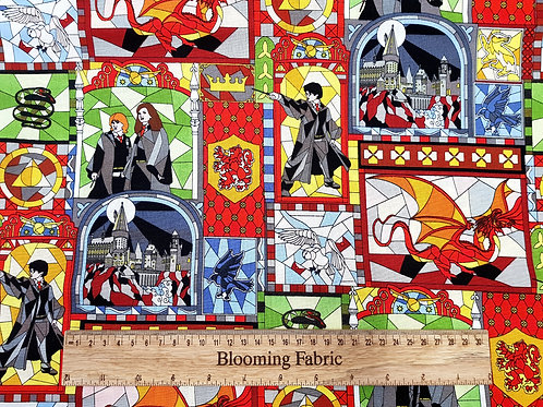 Harry Potter fabric, Hogvards Fabric, Mosaic window art, 100% Cotton