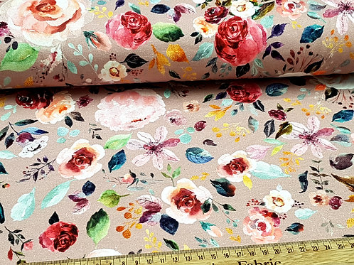 Cotton Jersey Organic, flower fabric, knit fabric, flowers on rose water pink