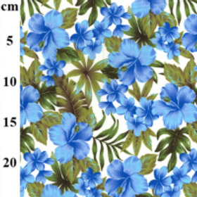 Hawaiian fabric Blue flowers tropical cotton retro Hawaii cotton 100% cotton