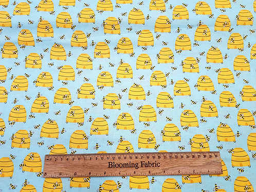 Buzzy Bees fabric, Hives Light Blue (bee collection)