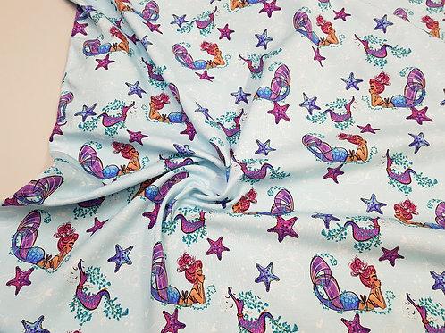 Mermaids sea life on light blue fabric Cotton Jersey, Cotton knit fabric