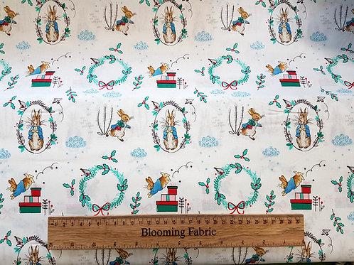 Peter Rabbit fabric, Christmas fabric, bunny fabric, critters fabric,