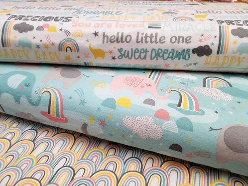 Elephant fabric, rainbow fabric, Nursery fabric, 100% cotton flannel