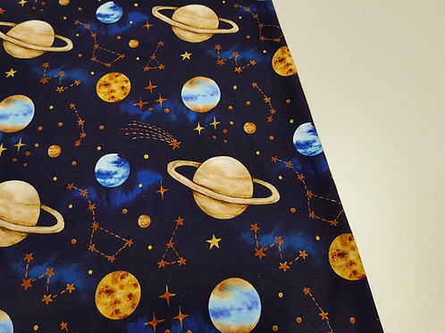 Space, planet, stars Cotton Jersey, Cotton knit fabric