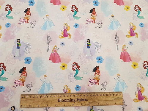 Disney princess fabric, 100% cotton print, Pink craft and clothing, quilting