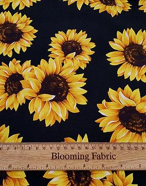 Sunflower jersey fabric, Autumn flower knit fabric