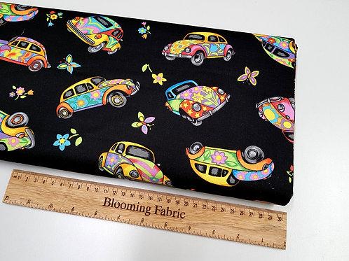 "VW Beetle fabric, Retro Car fabric ""Herbie"" fabric 100% cotton woven"