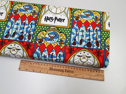 Harry Potter fabric, Hogwarts Fabric, Mosaic window art, Broom fabric