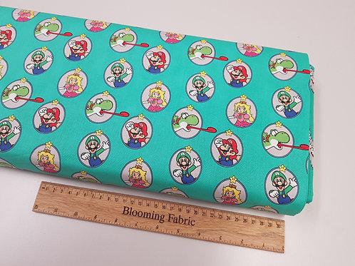 Super Mario fabric, Mario and Friends cotton fabric, Video Game fabric