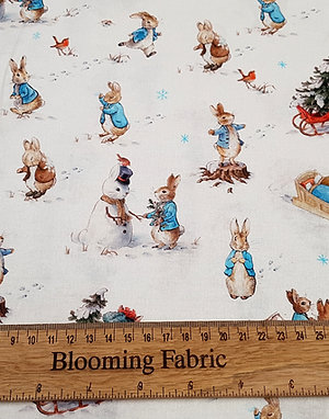 Peter Rabbit fabric, winter fun 100% cotton, craft and clothing woven fabric