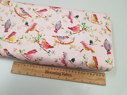 Bird fabric, watercolour fabric, light pink background