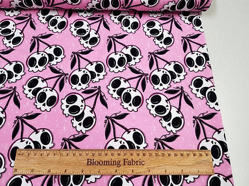 Cherry Skulls on pink fabric, Cotton jersey, knit fabric