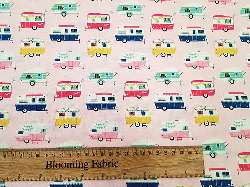 Camping fabric, Pink camper fabric 100% cotton
